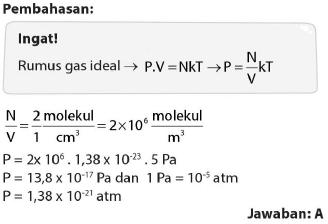Soal dan pembahasan tentang gas ideal