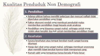 Kualitas Penduduk Non Demografi