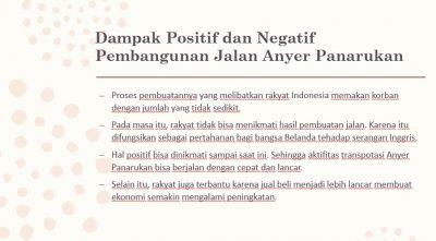 Dampak Pembuatan Jalan Anyer - Panarukan Bagi Rakyat Indonesia